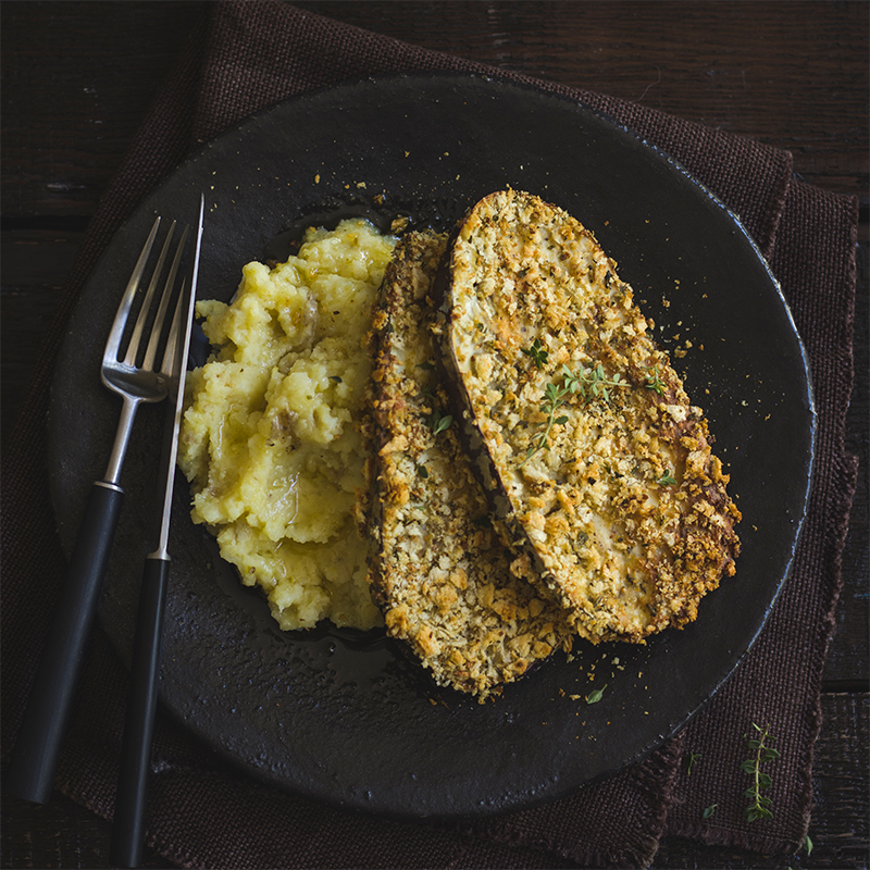 Eggplant Schnitzel with Dirty Mash